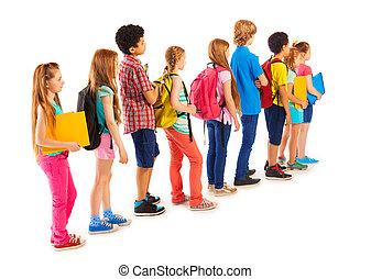 standing, ragazze, linea, gruppo, ragazzi