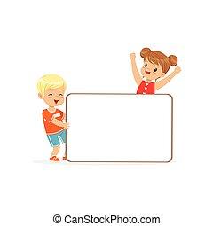 standing, ragazzo, bambini, cartellone, ragazza, bianco, illustrazione, vettore, caratteri, asse, messaggio, vuoto, felice