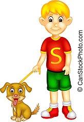 standing, ragazzo, cane, portare, sorriso, cartone animato, bello