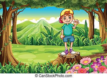 standing, ragazzo, ceppo, ondeggiare, mentre, foresta, sopra