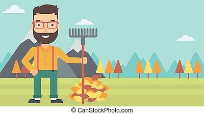 standing, rastrello, leaves., autunno, mucchio, uomo
