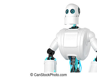 Standing Robot isolated over white background. Front view