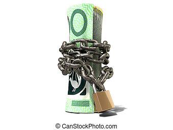 standing, rotolato, dollaro, su, shackled, australiano