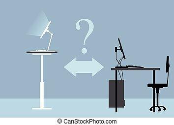 standing, scrivania, domanda