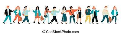 standing, scuola, insieme, fila, bambini, felice