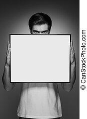 standing, se stesso, poster., grigio, manifesto, uomini, giovane, isolato, mentre, presa a terra, fronte, ritratto