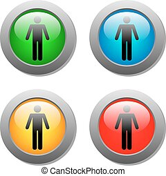 standing, set, bottoni, vetro, umano, icona