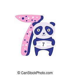 standing, sette, numero, prossimo, stilizzato, impaurito, animale, panda