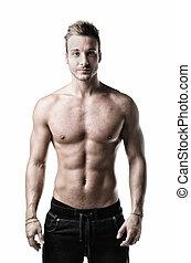 standing, shirtless, giovane guardare, macchina fotografica, muscolare, amichevole, uomo