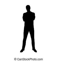 standing, silhouette, camicia, piegato, giovane, fronte, braccia, vettore, vista, polo, uomo