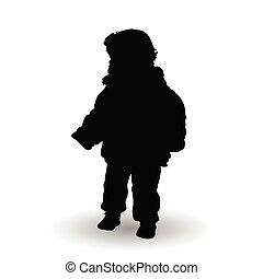 standing, silhouette, illustrazione, bambino