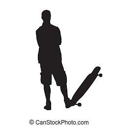 standing, silhouette, skateboard, piegato, isolato, giovane, braccia, vettore, uomo