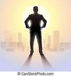 standing, silhouette, sunlight., uomo