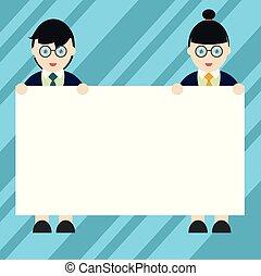 standing, sito web, maschio, cartellone, annuncio, affari, spazio, testo, isolato, uniforme, disegno, femmina, vuoto, promozione, copia, bandiera, presa a terra, vuoto, sagoma