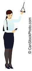 standing, smartphone, donna, lavoro, presa a terra, affari, ringhiera, secondo, isolato, vettore, o, trasporto, occhiate, modo, lavoro, home., pubblico