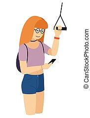 standing, smartphone, ringhiera, isolato, giovane, pubblico, vettore, occhiate, presa a terra, ragazza, trasporto