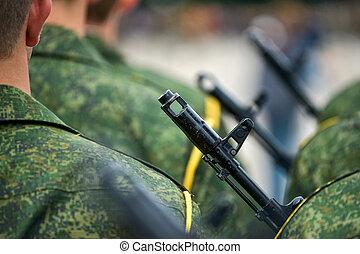 standing, soldati, fucili, uniforme