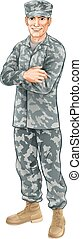 Standing soldier - A standing soldier wearing camouflage ...