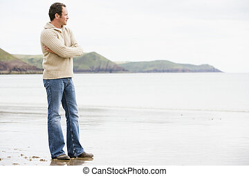 standing, spiaggia, uomo