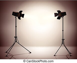 Standing Spotlights Background - Standing strobe tripods...