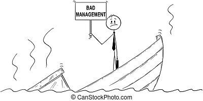 standing, sprofondamento, amministrazione, depresso, direttore, segno, cattivo, uomo affari, cartone animato, barca
