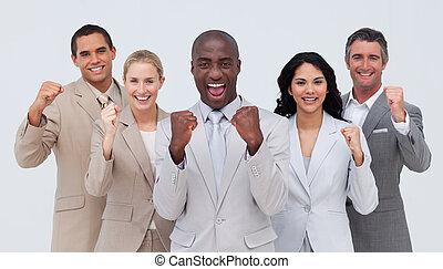 standing, squadra, positivo, affari, sorridere felice