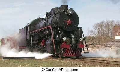 standing steam train - old train with steam engine. Audio...