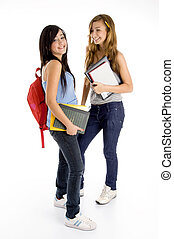 standing students posing with bag and books