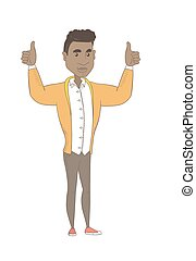 standing, su., elevato, giovane, braccia, uomo africano