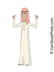 standing, su., elevato, musulmano, giovane, braccia, uomo