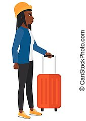 standing, suitcase., donna