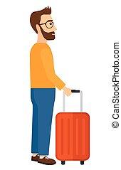 standing, suitcase., uomo