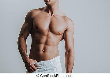 standing, suo, asciugamano, muscolare, solo, bianco, detenere, anche, uomo