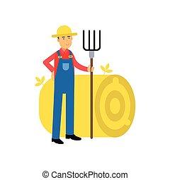 standing, suo, contadino, carattere, prossimo, mani, mucchio fieno, forcone, tuta, cartone animato, felice