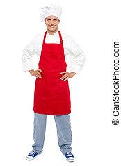 standing, suo, vita, rilassato, chef, mani