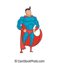 Standing Superhero in red cape icon, cartoon style