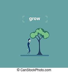 standing, sviluppo, concetto, albero, crescita, verde, sotto, uomo affari, investimento