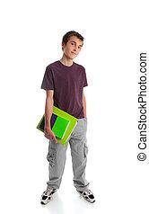Standing teen student