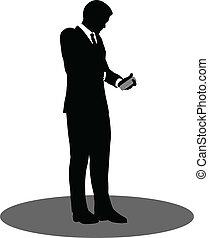 standing, telefono, silhouette, persone affari
