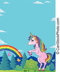 standing, tema, 2, immagine, unicorno