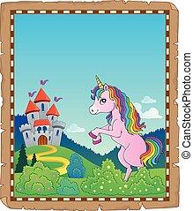 standing, tema, 2, pergamena, unicorno