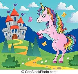 standing, tema, 4, immagine, unicorno