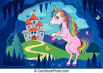 standing, tema, 5, immagine, unicorno