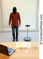 standing, testa, ufficio, sacco, uomo nero
