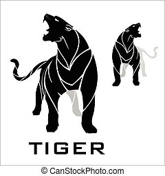 standing tiger in blac. ,panther.