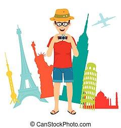 standing, turista, fotografo, sopra, uomo, mondo, felice, sightseeing