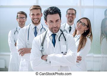 standing, ufficio, dottore, ritratto medico, personale