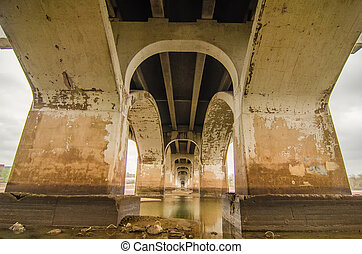 standing under old bridge over the river