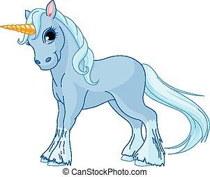 Standing unicorn - Illustration of standing beautiful cute...