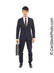 standing, uomo affari, cartella, presa a terra, giovane